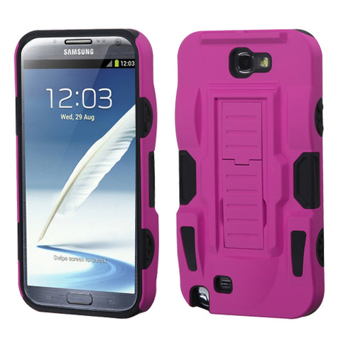 For Galaxy Note 2 Hot Pink/Black Advanced Armor Stand Case Cover (Rubberized)