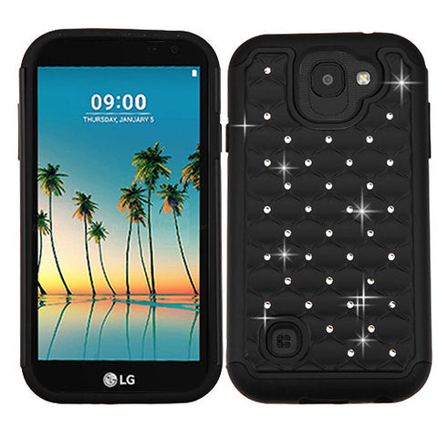 For LG K3 FullStar Rugged Rhinestone Bling Shiny Protector Phone Case Cover