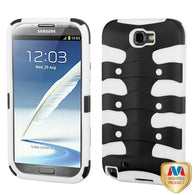 For Galaxy Note 2 Rubberized Black/Solid White Ribcage Protector Cover