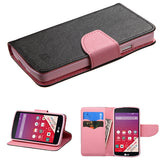For LS660 TRIBUTE Black Pattern/Pink Liner MyJacket Wallet +card slot
