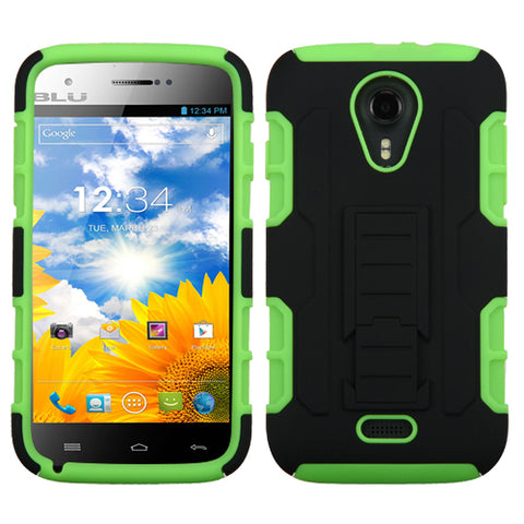 For D530 Studio 5.0 Black/Electric Green Car Armor Stand Case Cover (Rubberized)