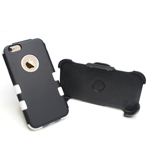 For iPhone 6s/6 TUFF Hybrid Impact Armor Phone Protector Cover w/ Black Holster