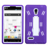For P769 Optimus L9 White/Purple Symbiosis Stand Protector Cover