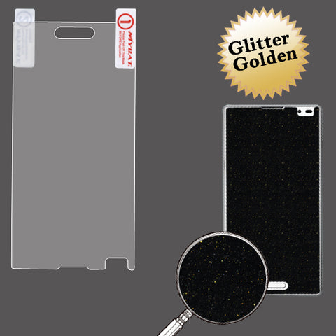 Gold Glitter LCD Screen Cover Protector Film w/ Cloth LG Optimus L9