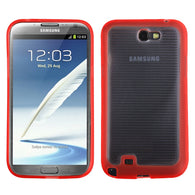 For Galaxy Note 2 Horizontal Stripes Clear/Solid Red Blue Gummy Cover