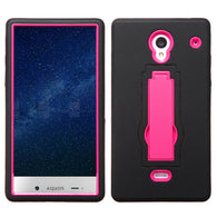 For 306 Aquos Crystal Hot Pink/Black Symbiosis Stand Protector Cover