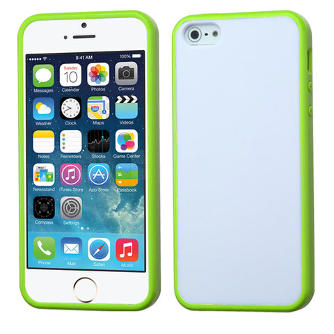 For iPhone 5s/5 Glassy Solid White/Green Gummy Protector Cover Case