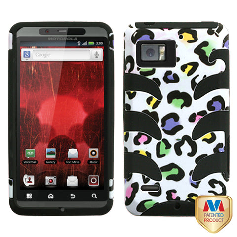 For XT875 Droid Bionic Colorful Leopard/Black Fishbone Phone Protector Cover