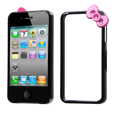 For iPhone 4s/4 Black/Hot Pink MyBumper Bow Protector Cover Case