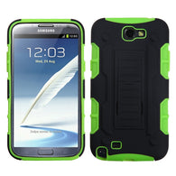 For Galaxy Note 2 Black/Electric Green Car Armor Stand Case Cover (Rubberized)