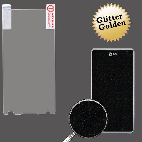 Gold Glitter LCD Screen Cover Protector Film w/ Cloth LG Spirit 4G