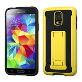 For Galaxy S5 Yellow/Black Leather Backing/Black Advanced Armor Stand Case Cover