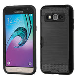 For Samsung Galaxy Sky/Sol/Express/Amp/J3 Brushed Hard Armor Case w/Card Wallet