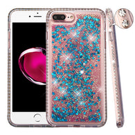 For iPhone 7 / 8 Plus Diamond Liquid Glitter Bling Hybrid Protector Case Cover