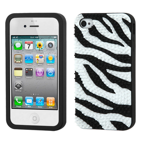 For iPhone 4s/4 Zebra Skin Spike/Black Pastel Silicone Skin Protector Cover Case