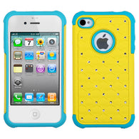 Bling Rhinestone Hard Cover +Impact Silicone Protector Case - iPhone 4 4S