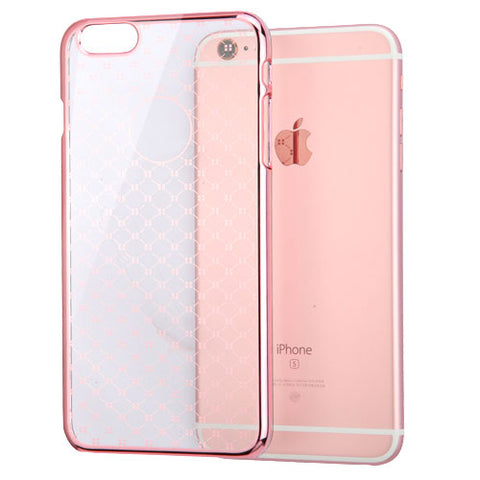For iPhone 6s/6 Clear Plaid Cross Back Protector Cover With Rose Gold Plating