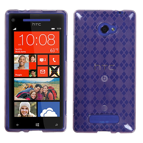 For Windows Phone 8X Purple Argyle Silicone Candy Skin Protector Cover Case