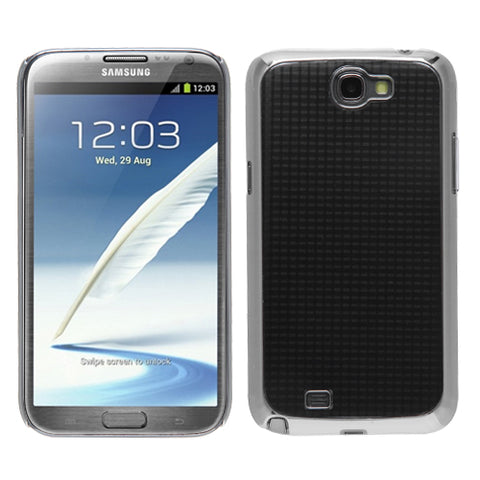 For Galaxy Note 2 Glistening Pond Silver Plating Plaid Alloy Executive Back Case