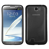 For Galaxy Note 2 Horizontal Stripes Transparent Clear/Solid Black Gummy Cover