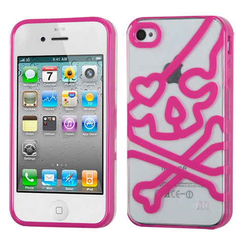 For iPhone 4s/4 Transparent Clear/Solid Hot Pink (Skullcap) Gummy Cover