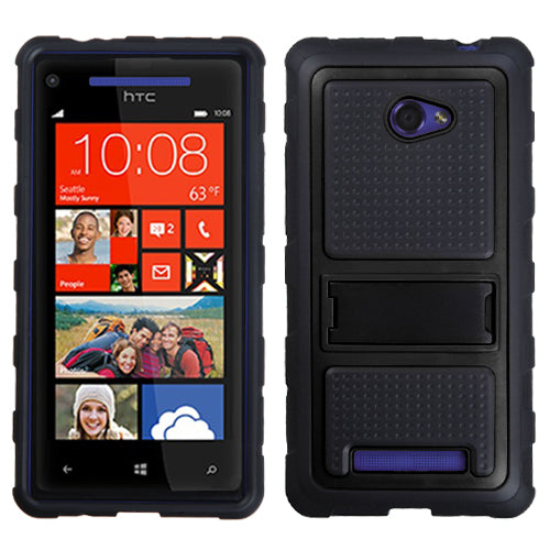 For Windows Phone 8X Black Gummy Armor  +Stand Protector Cover Case