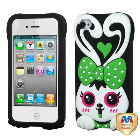 For iPhone 4s/4 Green/Black Rabbit Pastel Silicone Skin Protector Cover Case