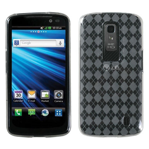 For P930 Nitro HD T-Clear Argyle Silicone Candy Skin Protector Cover Case