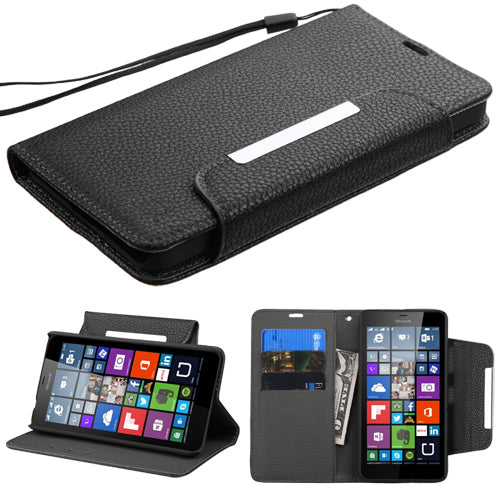 Book Style MyJacket Wallet Cover Case w/Wristlet for Nokia Lumia 640
