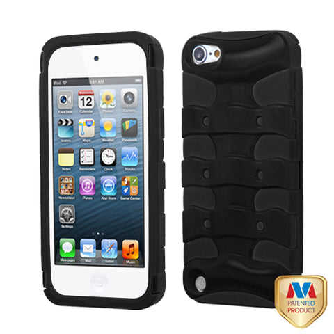 For iPod touch 6th GEN, 5th GEN Rubberized Black/Black Ribcage Protector Cover