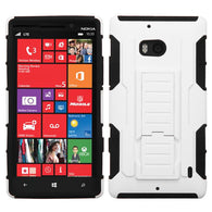 For 929 Lumia Icon White/Black Car Armor Stand Protector Cover (Rubberized)