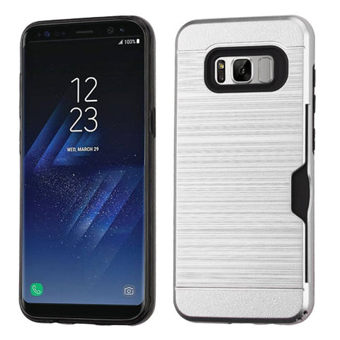 For Samsung Galaxy S8 Plus Brushed Hybrid Protector Case Cover with Card Wallet