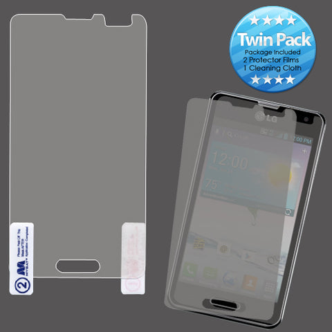 Twin Pack (2) Screen Protector Cover w/Cleaning Cloth for LG Optimus F3 LS720
