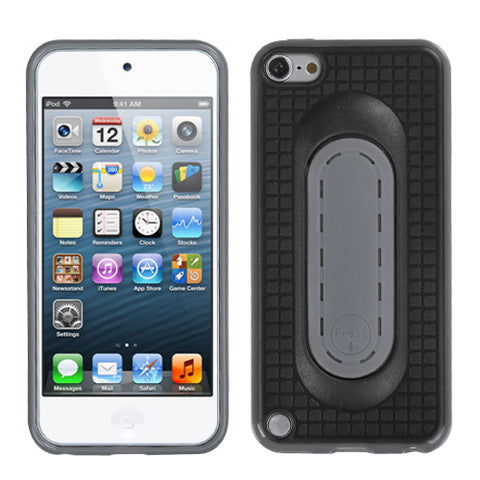 For iPod touch 6th GEN, 5th GEN Black Snap Tail Stand Protector Cover