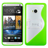 Transparent Hard Case + S Shape Silicone Gummy Cover w/Kick Stand for HTC One/M7