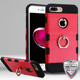 For iPhone 8 / 7 Plus Brushed TUFF Trooper Hybrid Cover with Metal Ring Stand