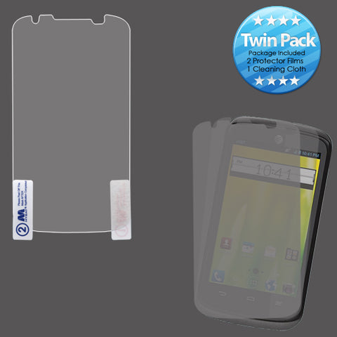 Twin Pack 2x LCD Screen Protector Cover w/ cloth wipe for ZTE Z740 Radiant