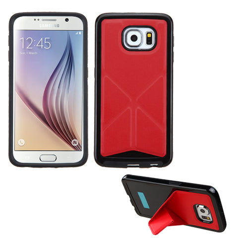 For Galaxy S6 Red Backside Black Candy Frame Case Cover +Folding Magnetic Stand