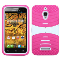 For 7024W One Touch Fierce White/Hot Pink Wave Symbiosis Case Cover (with Stand)
