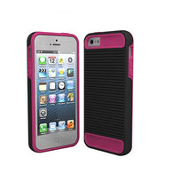 Black Decoro Premium Linear Tandem Pink TPU Protective Cover Case for iPhone 5