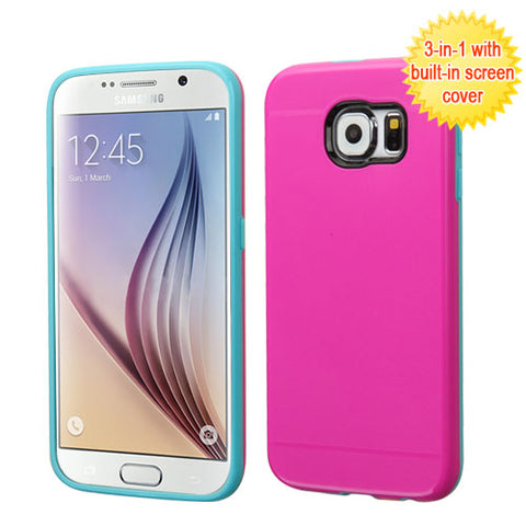 For G920 Galaxy S6 Hot Pink/Teal Green Hybrid Case Cover with Screen Case