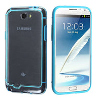 For Galaxy Note 2 Baby Blue/Transparent Clear MyBumper Phone Protector Cover