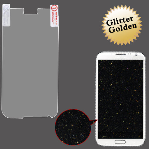Gold Glitter LCD Screen Cover Protector Film + Cloth Wipe Samsung Galaxy Note II