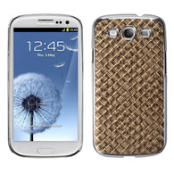 For Galaxy S3 Brown Silver Plating Plaid/Golden Executive Back Protector Cover