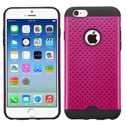 For iPhone 6s/6 Hot Pink/Black TPU Ultra-thin Drilled Holes Hybrid Case Cover