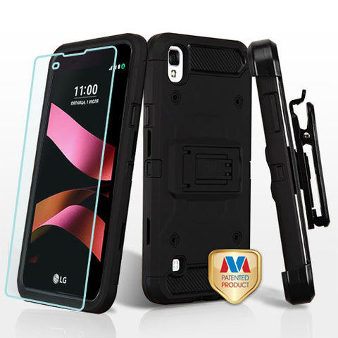 For LG Tribute HD X Style L53B Black 3-in-1 Kinetic Hybrid Protector Cover Combo