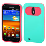 For Epic 4G Touch Galaxy S2 Rubberized Teal Green/Hot Pink Back Protector Cover