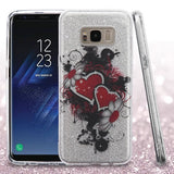 For Samsung Galaxy S8 Embossed Full Glitter Hybrid Protector Phone Case Cover