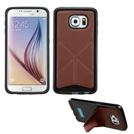 For Galaxy S6 Brown Backside Black Candy Frame Case +Folding Magnetic Stand