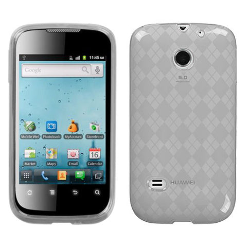For M865 Ascend II T-Clear Argyle Silicone Candy Skin Protector Cover Case
